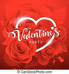 Happy Valentine's day party white message and red rose...