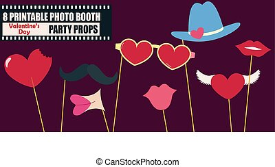 Happy Valentines day photo booth props icon set vector...