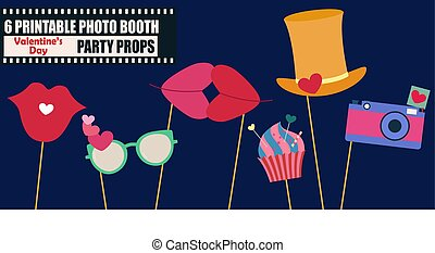 Happy Valentines day photo booth props vector illustration....