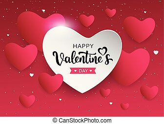 Happy Valentine's Day pink and white heart banners