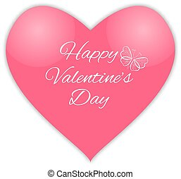 Happy valentines day. Pink heart.