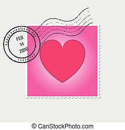Happy Valentines Day Postage Stamp Vector Illustration