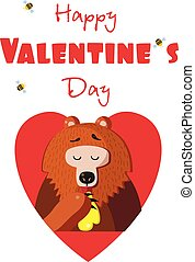 Happy valentines day postcard of cute bear eating honey in red heart