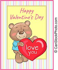 Happy Valentines Day Poster Bear Holding Red Heart