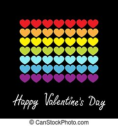 Happy Valentines Day. Rainbow flag line icon. Heart shape. LGBT gay symbol. Pride sign. Colorful line set. Flat design. Love is love. Black background. Isolated.