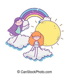 happy valentines day, rainbow sunny day clouds and cute cupids