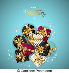 Happy valentines day realistic banner flat lay top view