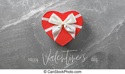 Happy Valentines day red box in shape of heart - Happy ...