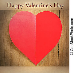 Happy Valentine's Day - Red heart with sheet of paper on a ...