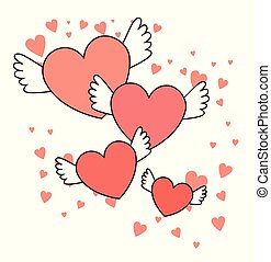 happy valentines day red hearts with wings