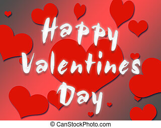 Happy valentines Day - red heats with a Happy Valentines...