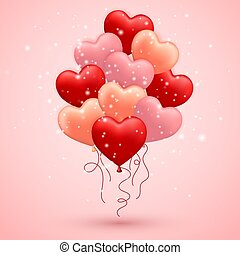 Happy Valentines Day, red, pink and orange balloon in form of heart with ribbon vector image