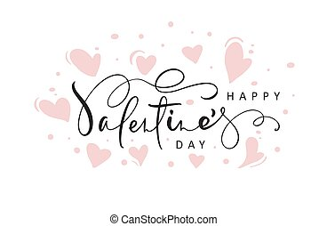 Happy Valentines Day red vector handwritten lettering text with hearts. Holiday design letters to greeting card, poster, congratulate, calligraphy text illustration