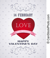 Happy Valentines day retro card love