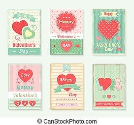Happy valentines day retro cards