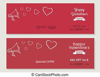 Happy Valentines day sale social media covers set