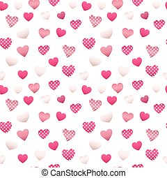 Happy Valentines Day Seamless Pattern with Hearts. Vector background