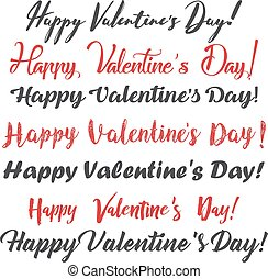 Happy Valentine's Day. Set of calligraphy text. Vector illustration