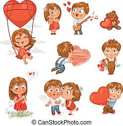 Happy Valentine's Day - Shy little boy hiding behind a...
