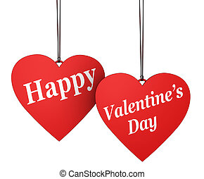 Happy Valentines Day Sign On Red Hearts