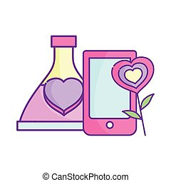 happy valentines day, smartphone love bottle and flower heart