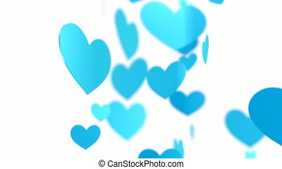 Happy Valentine`s Day - Rotation blue hearts. Loopable