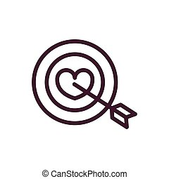 happy valentines day target heart arrow love romantic feeling icon thick line