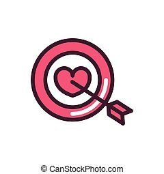 happy valentines day target heart arrow love romantic feeling icon