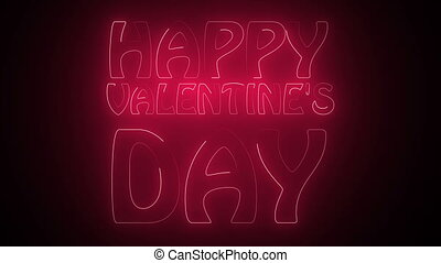 Happy Valentine's Day Text in neon