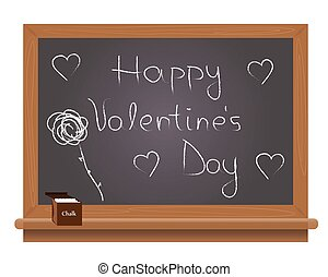 Happy Valentine's Day text on a school blackboard written...