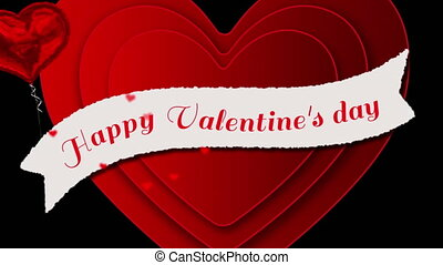 Happy valentines day text with hearts appearing on black background