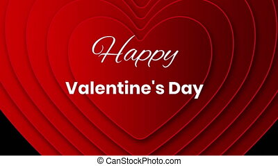 Happy valentine's day text with hearts on black background