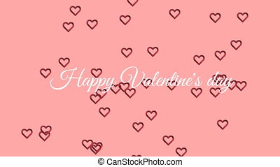 Happy valentine's day text with hearts on pink background