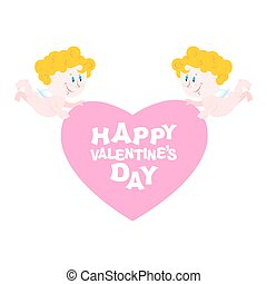 Happy Valentine's day. Two Angels and heart. Symbol of love. Small perky cupids and pink heart. Cupid and hearts on  white background. Logo design for your Valentine.