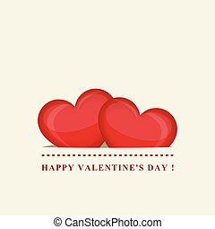 Happy Valentine's day. Two red hearts in pocket. Creative design. Vector illustration