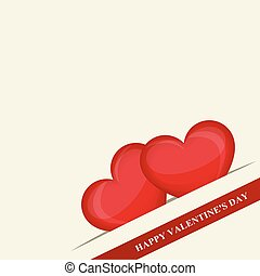 Happy Valentine's day. Two red hearts in pocket in the corner. Red ribbon. Creative design. Vector illustration
