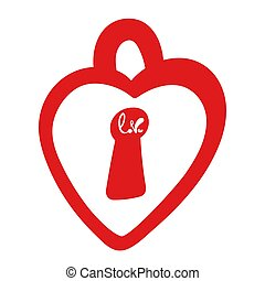 Happy Valentines Day Typographic postcard. Square format. Lettering word love in doodle style. Red lock. Vector Illustration of a Valentine s Day. Isolated image on white Background.