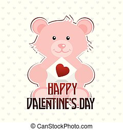 Happy Valentine's day typographic with bear