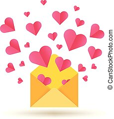 Happy Valentines Day vector card with open envelope and red hearts
