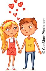 Happy Valentine's Day. Loving couple holding hands. Funny...