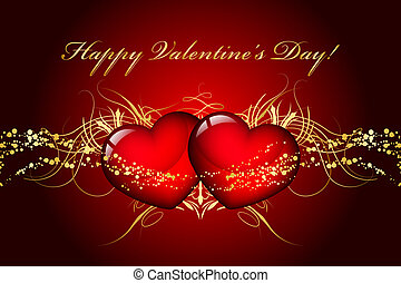Happy Valentines Day - Vector Happy Valentines Day card with...