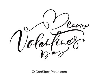 Happy Valentines Day vector handwritten lettering text with heart. Holiday design letters to greeting card, poster, congratulate, calligraphy text illustration