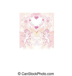happy valentine's day vintage card with cupids