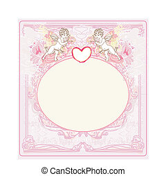 happy valentines day vintage card with cupids