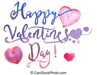 Happy Valentines Day watercolor text with hearts