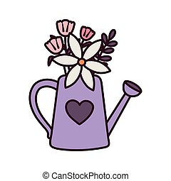 happy valentines day, watering can with flowers floral heart love