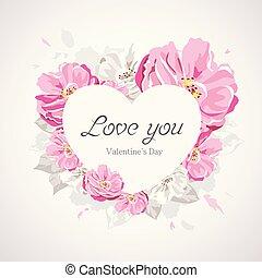happy valentines day white heart on pink flower