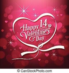 Happy Valentine's day white message design on pink background