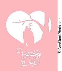 happy valentines day with couple in heart silhouettes