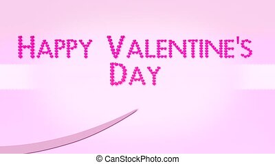 Happy Valentines Day With Pink Hearts Text And Ribbon
